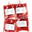 Bags of blood isolated on white - Foto Stock