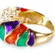 Beautiful gold ring with precious stones isolated on white - Stok fotoraf