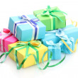 Bright gifts with bows isolated on white — Stock Photo #11159074