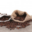 Coffee beans in canvas sack isolated on white — Stock Photo