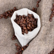 Coffee beans in sack on canvas background — Stock Photo #11159859