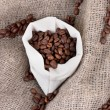 Coffee beans in sack on canvas background — Stock Photo