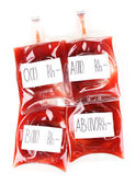 Bags of blood isolated on white — Stock Photo