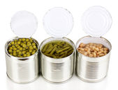 Open tin cans of french bean, beans and peas isolated on white — Stock Photo
