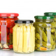 Jars of canned vegetables isolated on white — Stock Photo #11160648