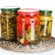 Jars of canned vegetables isolated on white - Стоковая фотография