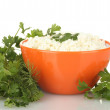 Cottage cheese with parsley and dill in orange bowl isolated on white — Stock Photo #11169221