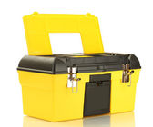 Open yellow tool box isolated on white close-up — Stock Photo