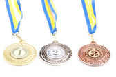 Three medals isolated on white — Stock Photo