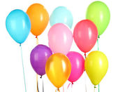Colorful balloons on white background close-up — Stock Photo