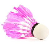 Pink feather shuttlecock isolated on white — Stock Photo