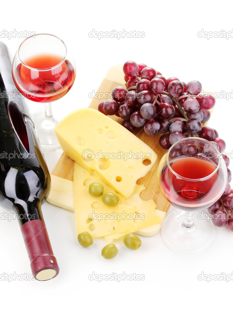 Bottle of great wine with wineglasses and cheese isolated on white — Stock Photo #11175783