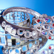 Stock Photo: Beautiful silver bracelets on blue background