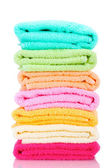 Colorful towels isolated on white — Stockfoto