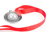 Silver medal isolated on white — Stock Photo