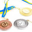 Stock Photo: Three medals isolated on white