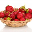 Sweet ripe strawberries in basket isolated on white — Stock Photo