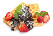 Belgium waffles with strawberries and mint isolated on white — Stock Photo
