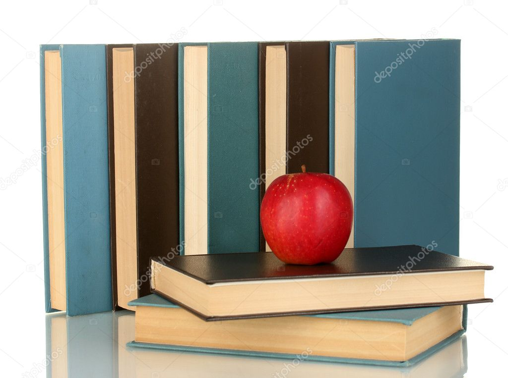 Blue and black books with apple  isolated on white  Stock Photo #11265697