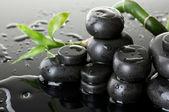 Piedras de spa con gotas y bambú verde sobre fondo gris — Foto de Stock