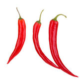 Red hot chili peppers isolated on white — Stock Photo