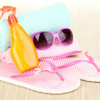 Beach accessories on mat - Stock Photo