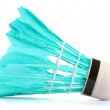 Blue feather shuttlecock isolated on white — Stock Photo