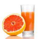 Grapefruit juice and grapefruit isolated on white — Stock Photo #11315473