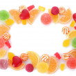 Frame of colorful jelly candies isolated on white — Stock Photo #11318693