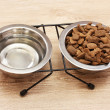 Dry dog food and water in metal bowls on wooden background — Stock Photo