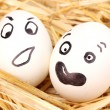 White eggs with funny faces in straw — Stock Photo