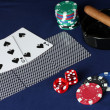 Poker game on a blue table — Stock Photo