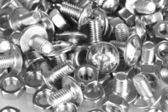 Chrome nuts and bolts close-up — Stok fotoğraf