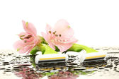 Woman safety shavers with drops and flowers on white backgroud — Stock Photo