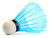 Blue plastic shuttlecock isolated on white — Stock Photo