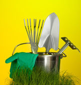 Garden tools on grass on bright colorful background close-up — Stock Photo