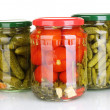 Jars of canned vegetables isolated on white - Zdjęcie stockowe
