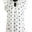 Woman white black polka dot dress on mannequin on white background — Stock Photo