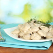 Royalty-Free Stock Photo: Delicious cooked dumplings in the dish on bright green background