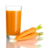Glass of carrot juice and fresh carrots isolated on white — Stock Photo