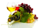 Bottle and glasses of wine and ripe grapes isolated on white — Stock Photo