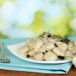 Delicious cooked dumplings in the dish on bright green background — Stock Photo