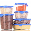 Filled plastic containers isolated on white — Stock Photo