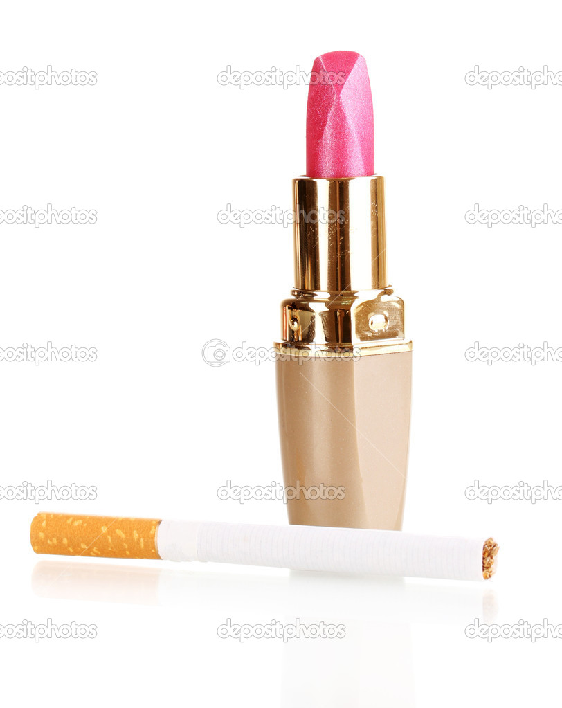 Cigarette and lipstick isolateed on white  Stock Photo #11403495