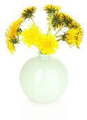 Dandelion flowers in vase isolated on white — Stock Photo