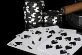 Straight flush with poker chips on black background close-up — Stock Photo