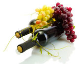 Bottles of wine and ripe grapes isolated on white — Stock Photo