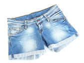 Women jeans shorts isolated on white background — Stock Photo