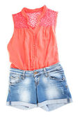 Womens blouse and denim shorts isolated on white — 图库照片