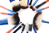 Make-up brushes isolated on white — Stock Photo